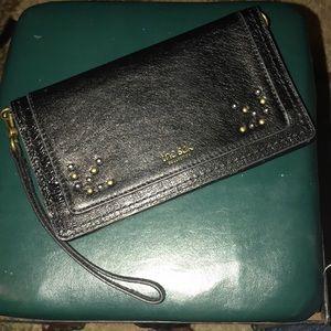 the sak gold studded black wallet